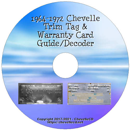 1964-1972 Chevelle Trim Tag and Warranty Card Guide/Decoder